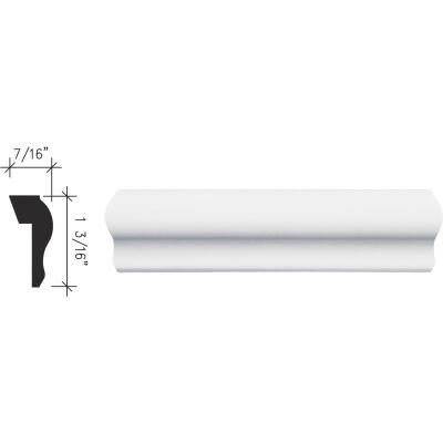Inteplast Building Products 7/16 In. x 1-3/16 In. x 8 Ft. Crystal White Polystyrene Base Molding Cap