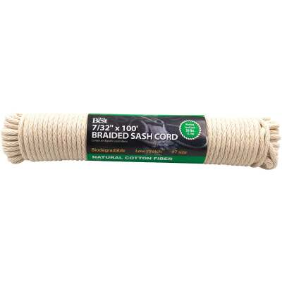 Do it 7/32 In. x 100 Ft. White Solid Braided Cotton Sash Cord