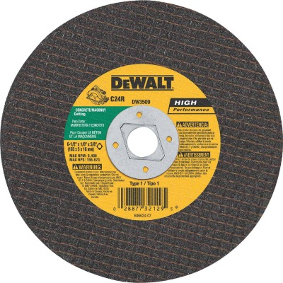 DeWalt HP Type 1 6-1/2 In. x 1/8 In. x 5/8 In. Masonry Cut-Off Wheel