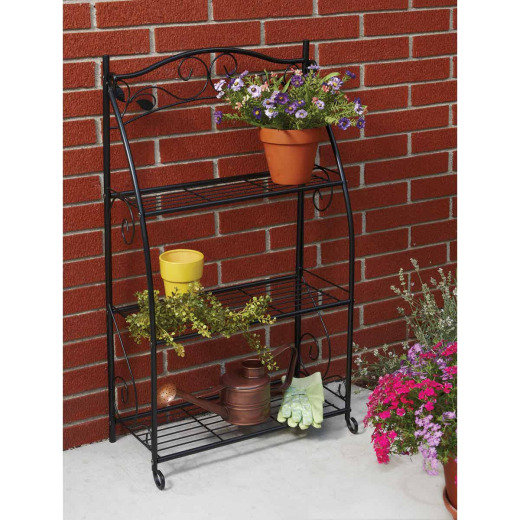 Best Garden Black Powder-Coat Steel 38 In. H. 3-Shelf Indoor/Outdoor Plant Stand