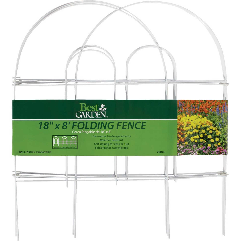 Best Garden 8 Ft. Powder-Coated White Wire Folding Fence Image 3